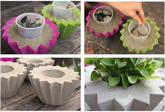 Миниатюрные вазоны из бетона своими руками