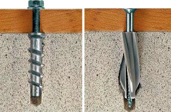Пример в разрезе крепления дюбелями деревянных досок