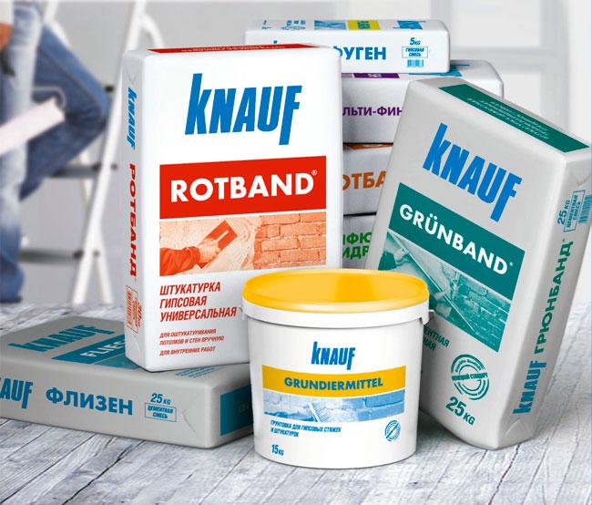Существует большой выбор отделочных смесей от фирмы Knauf