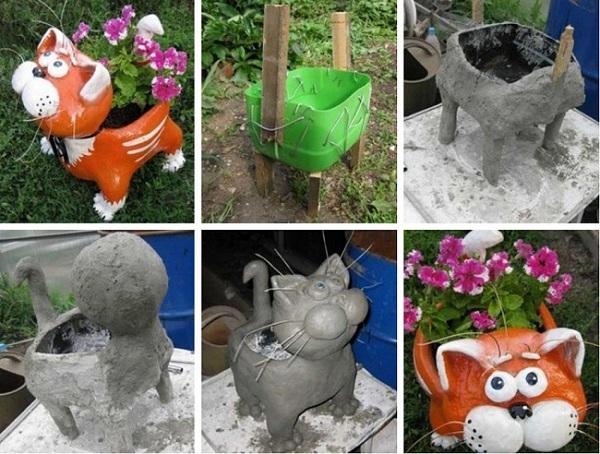 Технология изготовления самодельного вазона из бетона, дерева и пластика в форме фигуры кота