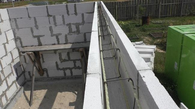 Укладка арматурного каркаса для последующей заливки бетоном