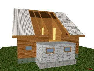 Схематическое изображение пристройки к деревянному дому из пеноблока