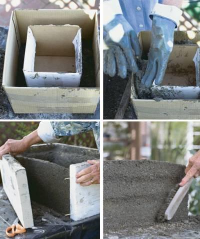 Этапы создания вазона из бетона своими руками
