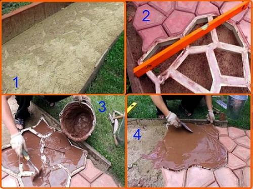 Этапы создания садовой бетонной дорожки своими руками с помощью пластиковой формы