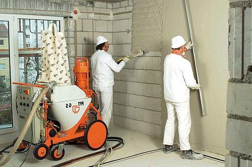Использование штукатурной машины для газобетонных стен