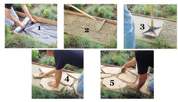 Технология создания садовой дорожки из природного камня своими рукам
