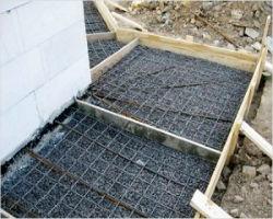 Опалубка для бетонной отмостки с армированием