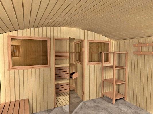 Вариант внутренней обшивки бани влагостойкой древесиной хвойных пород