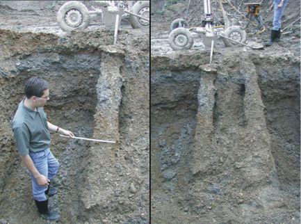 Результат выполненных работ по закреплению грунта основания струйной технологией после откопки