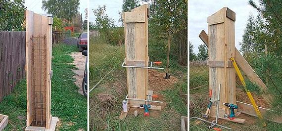 Изготовление бетонных столбов для забора методом заливки в опалубку