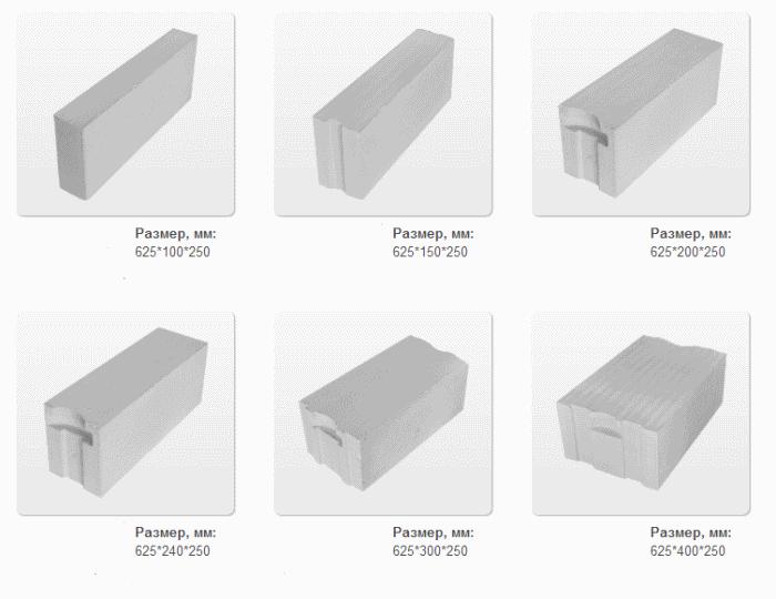 Виды газбетонных блоков