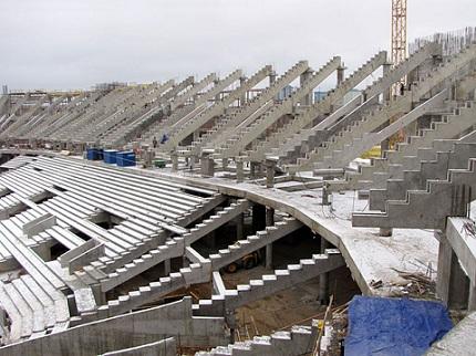 Применение бетона М200 при строительстве стадиона